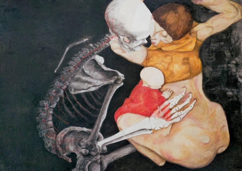 After Schiele 70-100cm kleurpotlood/houtskool