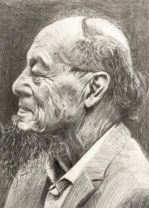 Oude man; potlood op papier; 30-40cm