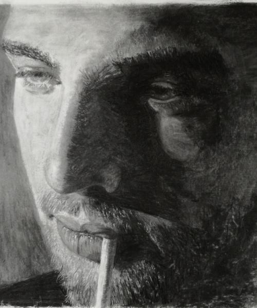 wouter; 65-65cm; houtskoolportret