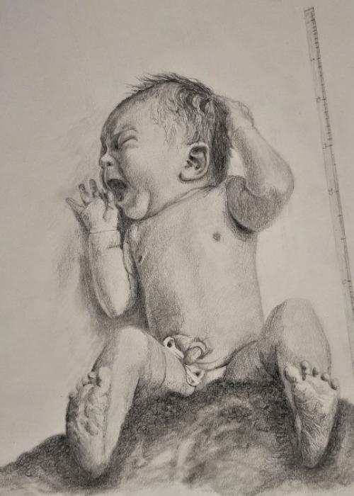 Yaïra; babyportret potlood