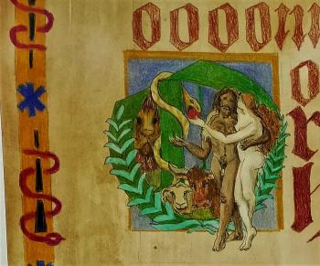 Adam en Eva eten van Boom van Goed en Kwaad